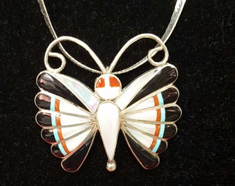 Mariposa/Zuni Butterfly Brooch with Chain/Turquoise/Mother of Pearl/Coral/Black Onyx