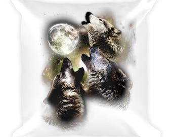 Wolves Howling At The Moon Gift Square Pillow