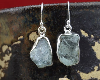 Rough natural aquamarine and sterling silver free form earrings