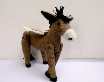 OOAK Flying Donkey -  Plush Toy Animal ,Hand woven,  Hand-Stitched,Softie, cute animal,Fabric Doll,stuffed, softie