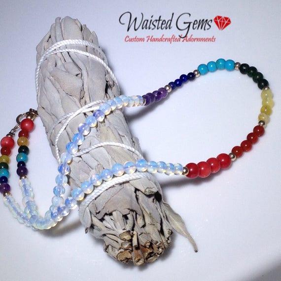 Chakra Gemstone and Sterling Silver Necklace , waist gems, Boho Jewelry, waist beads, body chains