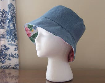 Women's Chemo Sun Hat Bucket Style, Reversible - 2 Hats in 1, Denim with Vintage Fabric, Cancer Patient Gift, Chemotherapy Hat Ready to Ship