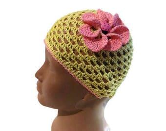 Summer hat crochet, hat for baby girl, crochet beanie, crochet hat, baby hat, summer hat, baby shower gift, fishnet hat, girls crochet hat