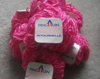 Seven 50g skeins Pingouin Ritournelle cotton blend yarn in bright pink