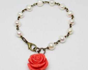 Freshwater Pearls Bracelet, Cream Pearls, Pearl Jewelry