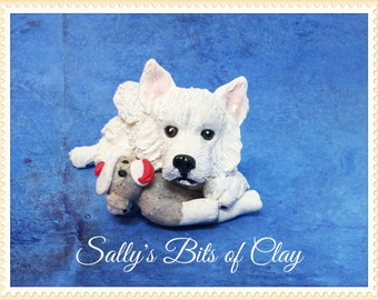 Samoyed dog with sock monkey READY to SHIP! One of a Kind original sculpture by Sally's Bits of Clay