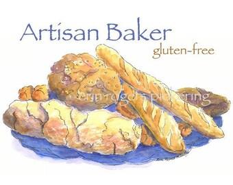 Artisan Baker Gluten Free bread basket 5x7 print