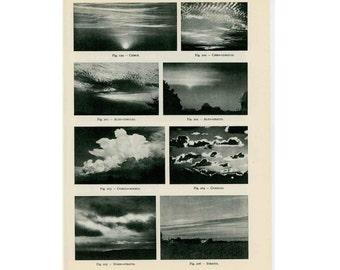 1959 CLOUD FORMS lithograph original vintage celestial astronomy print
