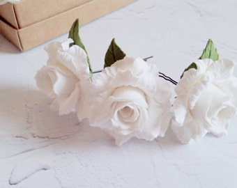 Hairpins, White Hairpins, Hair Accessory, Wedding Accessory, Hairpins with roses, white roses, Hairpins for bride, original accessories