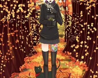 "Fall Love Art Print - 8""x10"" or 11x14"" - original anime manga art alternative punk goth girl - Bianca Loran Art"