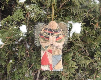 "Primitive Folk Art Angel Ornament-an Original Design from Vintage Quilt Top & Antique Coverlet w/Needle felt wool wings. 6.5""h."