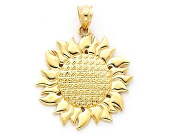 14K gold Sunflower Charm