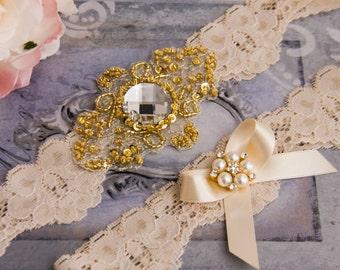 Gold Wedding Garter Set, Gold Bridal Garter Set, Cream Lace Garter, Lace Wedding Garter, Golden Garter Set, Personalized Garter