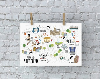 Illustrated Sheffield Map