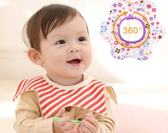 3 Baby Waterproof 360 Degree Rotatable Bibs Saliva Towels Absorbent Terry with Snaps