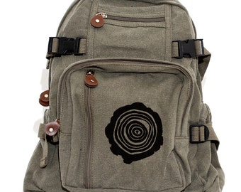 Backpack - Tree Rings - Canvas Rucksack - Hiking Backpack. Small. Hipster Diaper Bag Backpack. Men's Backpack. Hiking Pack