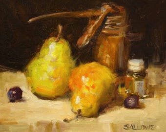 Original Art Oil Framed Painting Pear 8x10 Still Life Painting Impressionism