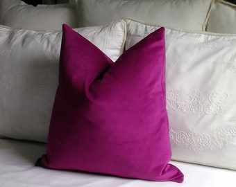 Pink Velvet Pillow Cover Magenta Knife Edge or Piping 18x18 20x20 22x22 Accent Throw 13x20 14x22 Lumbar