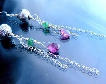 Tourmaline Earrings bubblegum pink n green in sterling silver with long chains briolettes OOAK jewelry