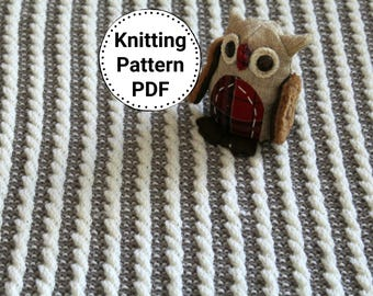 Knitting Pattern | Baby Blanket Faux Cable | Baby Blanket Knitting Pattern | Stroller Blanket | Crib blanket | Instant Download PDF