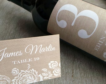 Placecard 50qty...Choose your fonts and colors.. Faux Burlap