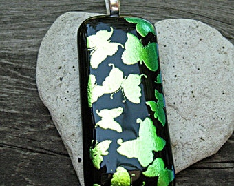 Dichroic Fused Glass Pendant - Butterflies In Flight Fused Glass Pendant