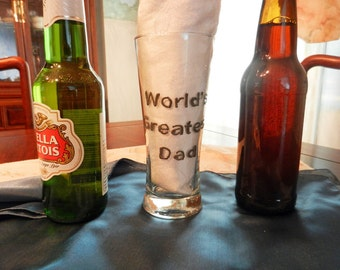 """Beer Glass """"World's Greatest Dad"""""""