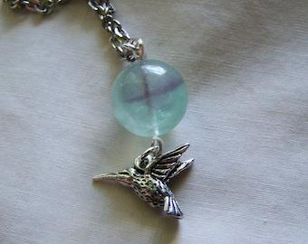 Hummingbird Fluorite Crystal Ball Pendant