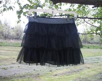 Darling Retro 90s Teens Fluffy DANCE Black TUTU, w Silvery shiney elastic waist, 14 /16