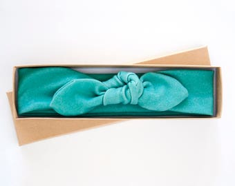 Organic Cotton Teal Baby Knot Headband - Baby Girl Headwrap- Toddler Turban - Adult Jersey Headband - Infant Bow - Teal Turquoise Blue