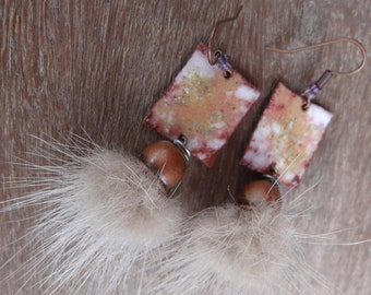 Wild BO - enameled copper plate and faux fur