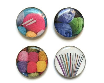 Yarn magnets or yarn pins, yarn buttons, craft magnets, craft pins, knitting, crochet, refrigerator magnets, fridge magnets, office magnets