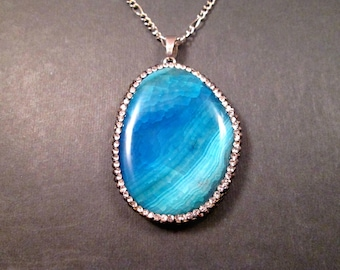 Gemstone Necklace, Blue Agate Slice, Crystal Pave Pendant Necklace, Silver Chain Necklace, FREE Shipping U.S.