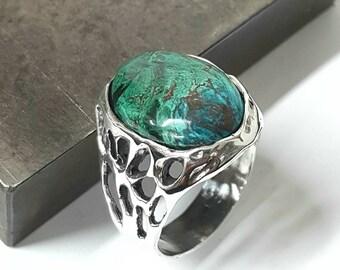 Amazing  Eilat Stone King Solomon Stone 925 Sterling Silver Ring