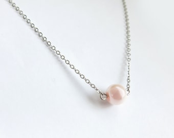 Blushing Pink Glass Pearl Necklace