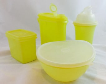 Vintage Yellow Tupperware Containers x 4 / Tupperware Shaker/Tupperware Pitcher/ Tupperware Bowl