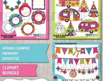 Spring clipart sale bundle, RV caravan camper clip art, frames/ tags, bunting banners digital images, commercial use illustration