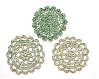 3 Light  green crochet Doily Vintage lacy doilies