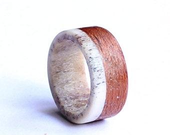 Mens Wedding Band, Deer Antler Ring, Mahogany Ring, Wood Wedding Band