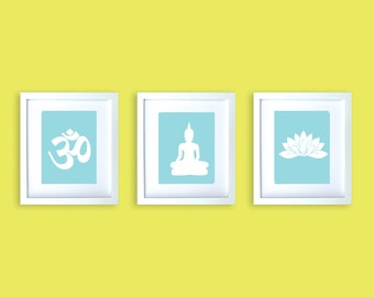Three Yoga Art Prints - Buddha, lotus, Om , Yoga , meditation, buddha, buddha, yoga design, yoga prints, Buddha art