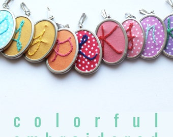Hand Embroidered Necklace Personalized Jewelry Initial Jewelry Springtime Accessories Name Necklace Handmade Initial Pendant Gift for her...