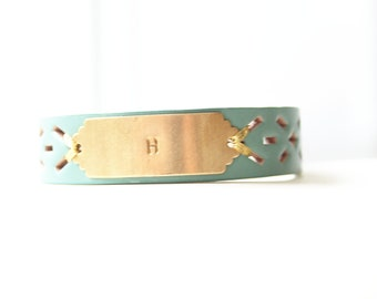 Personalized Bracelet, Monogram Leather Bracelet, Custom Initial Bracelet, Aqua Blue, Personalized Jewelry ID Bracelet, Custom Name Bracelet