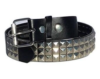 "Dangerous Threads Black Studded Belt- 1 1/2"" - Nickel Pyramid Studs - Sizes:  S, M, L, XL"