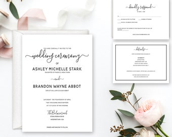 The Balmoreah Invitation Suite, Classy Wedding Invitations, Modern Wedding Invitations, Printable, black and white