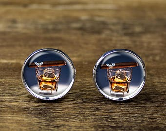 Whiskey and Cigar cufflinks, Wedding cufflinks, Wedding jewelry