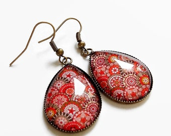 drop earrings, Bohemian spirit, hippie geometric red, glass cabochon