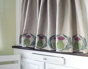 Natural gray or white hand block printed Scottish Thistle linen cafe curtain one 57 x 27