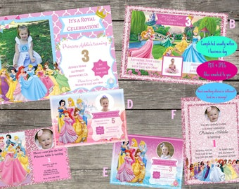 Personalized Disney Princess Birthday Invitation- Digital File Only- DIY 5x7