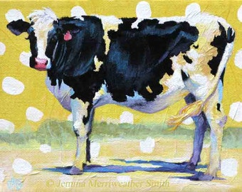 Cow Painting, Artist Trading Card, ACEO Summer Fun Cow Art & Polka Dots ,ATC, Mini-Art Cow Print by Jemmas Gems