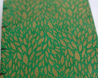 Dublin Book - Green with Gold Foiled Leaves Handbound Coptic Stitch Notebook